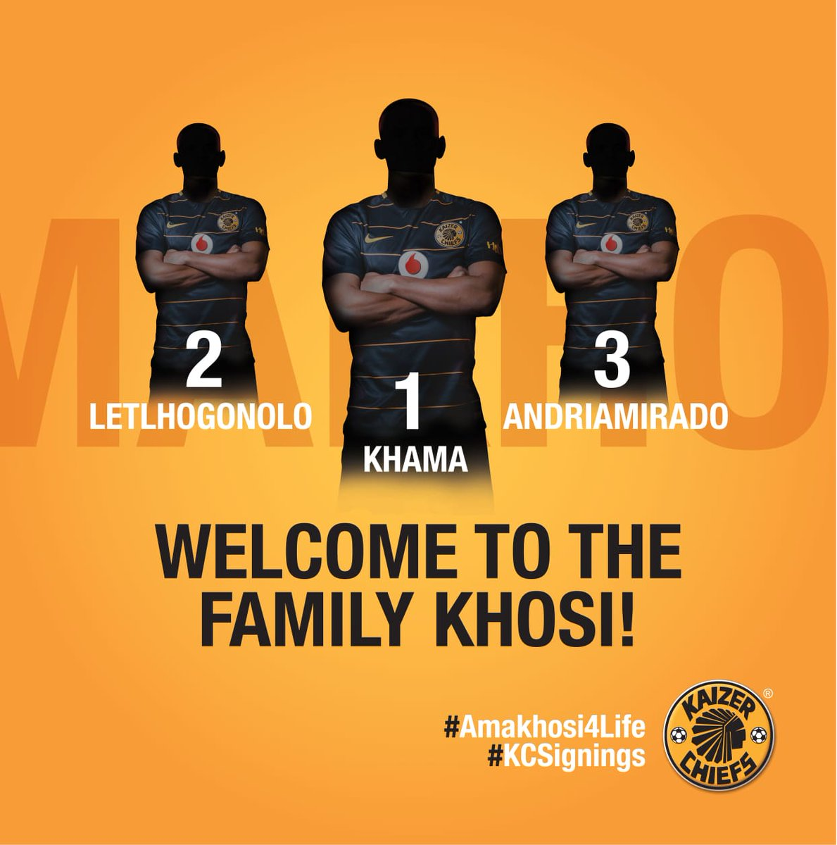 Player Updates  So much speculation, so many rumours, yes Amakhosi Faithful, our Family is expanding!  We want to confirm the signing of Khama Billiat, Letlhogonolo Mirwa and Andriamirado Andrianarimanana.  Welcome to the Amakhosi Family!  https://t.co/Ar8PXvpqHc  #Amakhosi4Life
