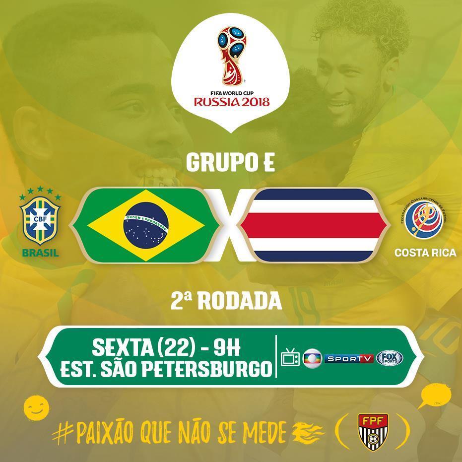 BRASIL EM CAMPO! Em busca da primeira vitória na Copa do Mundo, a Seleção Brasileira enfrenta a Costa Rica, em São Petersburgo, pela 2ª rodada do Grupo E! ⚽Brasil x Costa Rica 🏟São Petersburgo 🕓9h 📺Globo SporTV Fox Sports #PaixãoQueNãoSeMede #FPF #EsseÉoMeuJogo