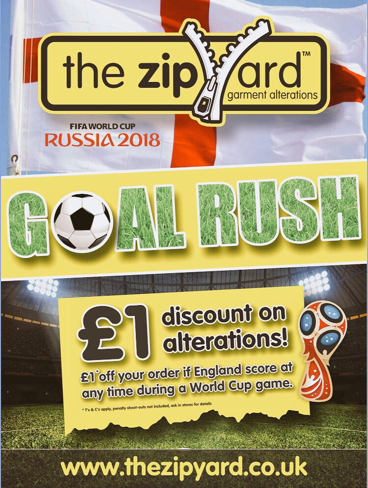 #WorldCup2018 fever continues and to celebrate and support the #3lions @ZipYard we are still giving a #discount on #alterations every time we score..let's hope they do us #proud...come on 🏴󠁧󠁢󠁥󠁮󠁧󠁿 #englandsquad