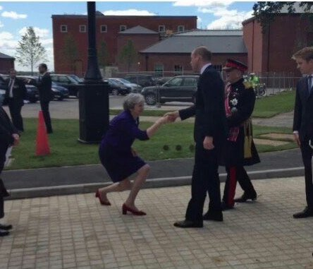 The Prime Minister of the United Kingdom, Theresa May, meets the His Royal Highness The Duke of Cambridge, Prince William. How adult human beings continue to indulge all this with a straight face is truly baffling. And embarrassing.