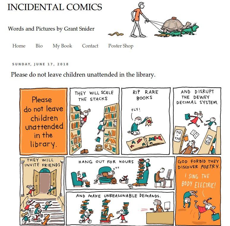 Please do not leave children unattended in the library. Per favore non lasciate i bambini da soli in #biblioteca di Grant Snider http://ow.ly/kJZ030kCh1x #libri #lettura  - Ukustom