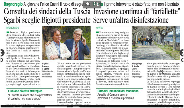 #Bagnoregio Al giovane Felice #Casini il ruolo di segretario #Consulta dei sindaci della #Tuscia @VittorioSgarbi  isceglie #Bigiotti presidente @corriereviterbo #sgarbi  - Ukustom