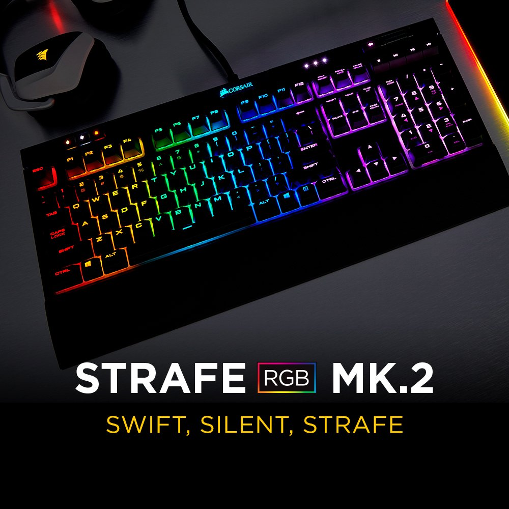 Our new STRAFE RGB MK.2 is here. Experience the performance and competitive advantage of CHERRY MX Silent mechanical keys, with 30% less noise. Plus easy access multimedia controls & brand-new volume scroll wheel. ⌨️: corsair.com/strafe