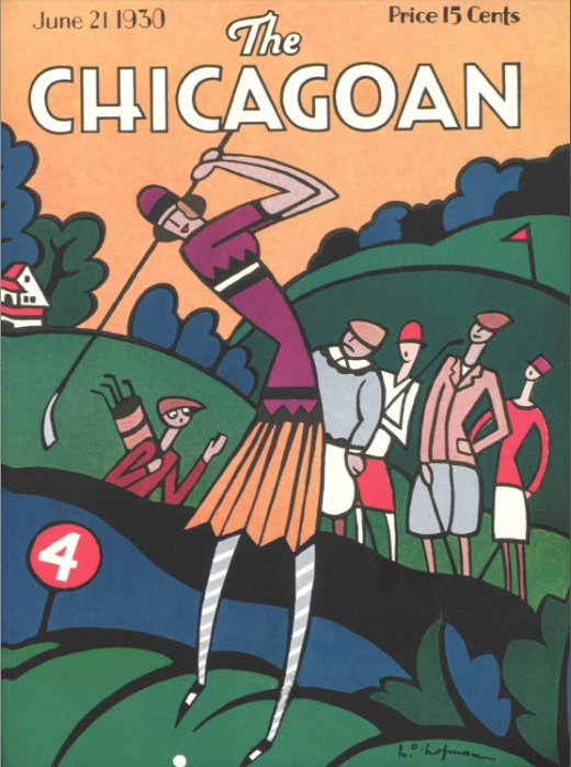 Its the 88th anniversary of this issue of the Chicagoan. Given yesterdays rains here in Chicago, this same golf course would be a bit muddy today. Cover copyright The Quigley Publishing Company, a Division of QP Media, Inc #chicagoan #magazinecover #artdeco #golf #illustration