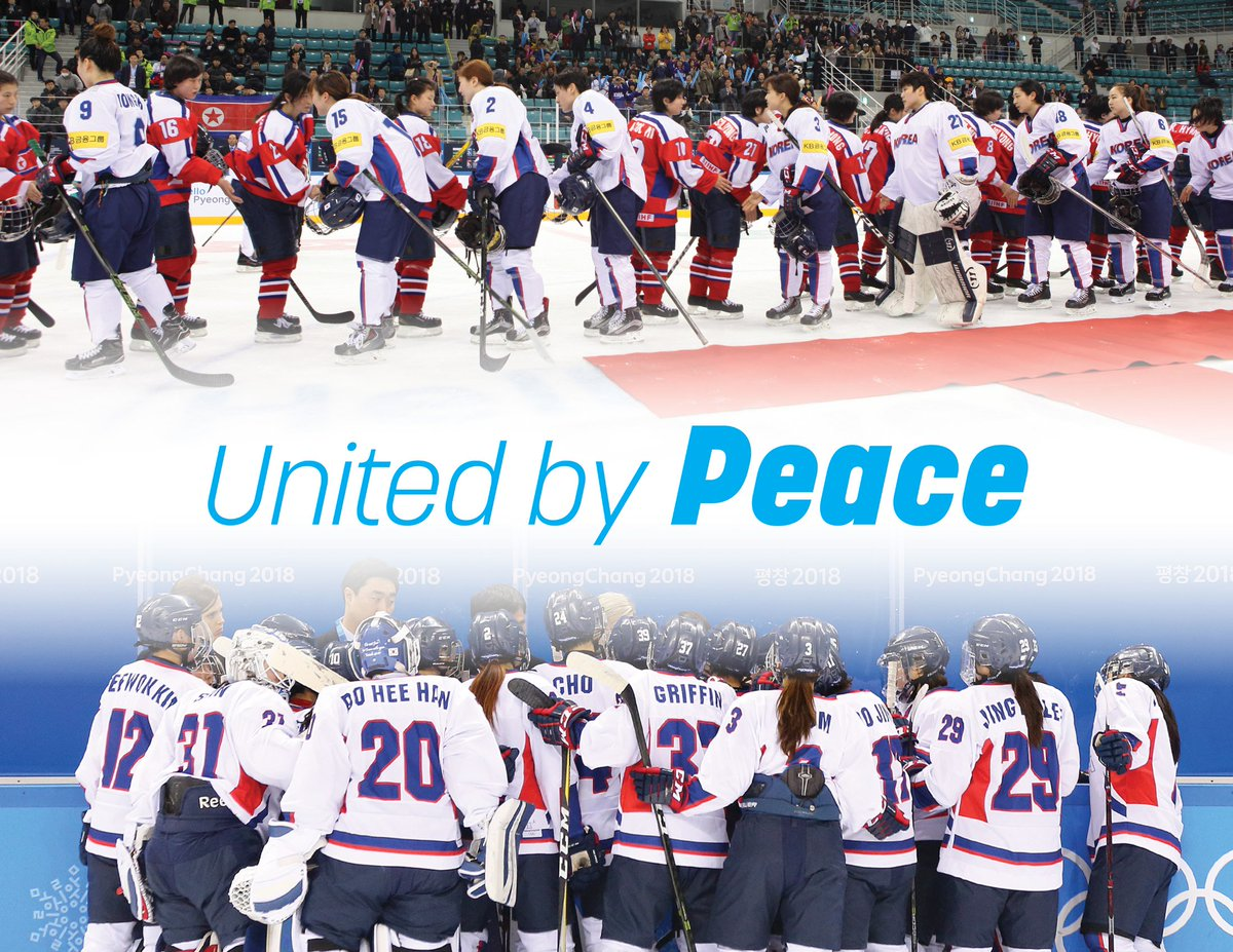 We&#39;re celebrating #OlympicDay today, #UnitedBy Peace because sports can build bridges where people are divided, exemplarily shown by the Unified Korean women&#39;s ice hockey team where players from north and south worked together at the #PyeongChang2018 Olympics and wrote history. <br>http://pic.twitter.com/PQZa2bcSpN