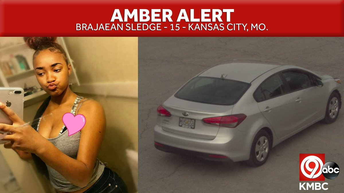 IT TAKES ONLY TWO SECONDS TO RT: The Amber Alert in KC continues for Brajaean Sledge, a 15-year-old female.  Sledge is 5 feet, 8 inches and 140 pounds. Police said the suspect is a black male driving a 2017 Kia Forte' with Missouri license plate: MB5-G5B. https://t.co/6DoATeemLj