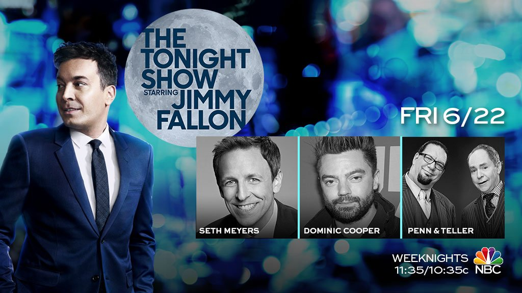 Tonight: @sethmeyers, @dominiccoop, magic from @pennjillette and @MrTeller, and new Thank You Notes! #FallonTonight