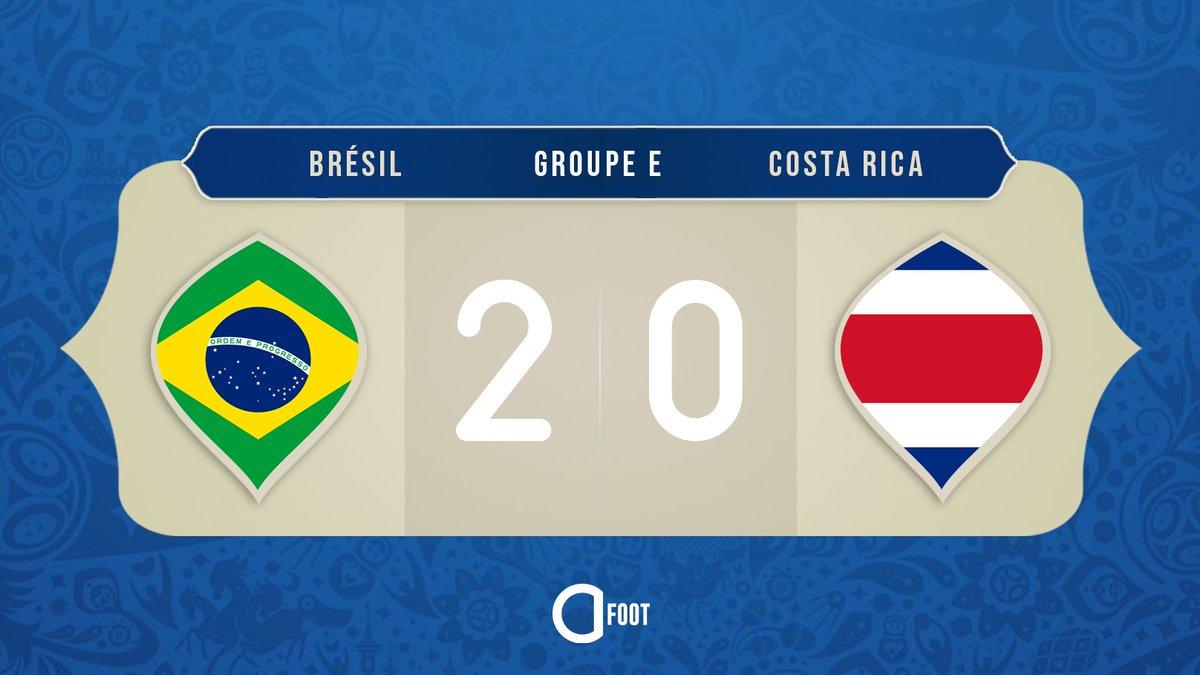 ⏱ TERMINÉ !  BRÉSIL 🇧🇷  2-0  🇨🇷 COSTA RICA  Le Brésil s'impose sur le fil face au Costa Rica grâce à des buts de Coutinho et Neymar !