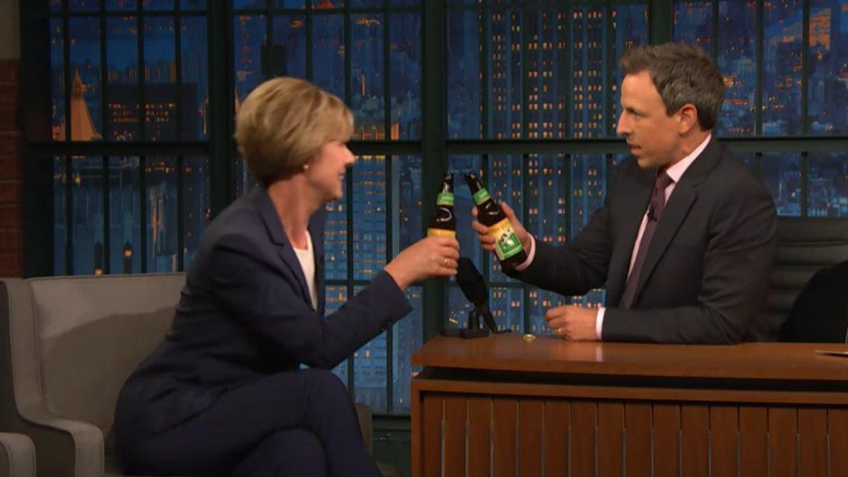 Sen. Tammy Baldwin brings Seth Meyers Spotted Cow #news3 https://t.co/acnRVprOWP