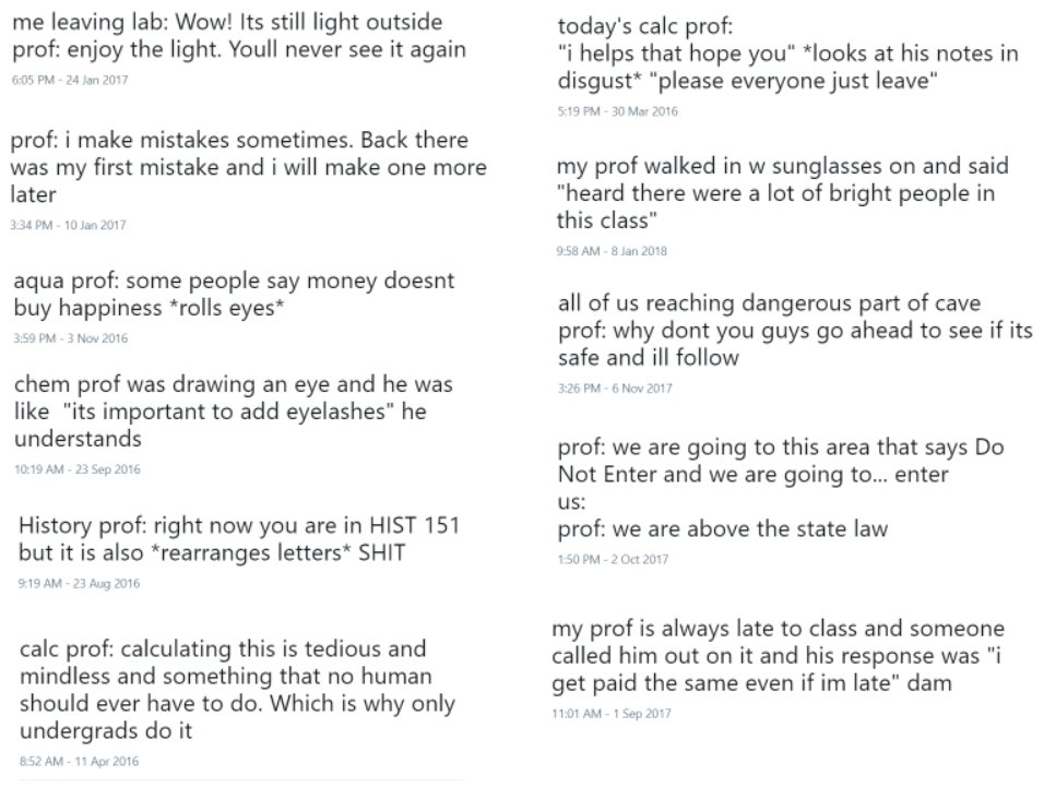 for no reason i compiled my favorite professor quotes from my years at university