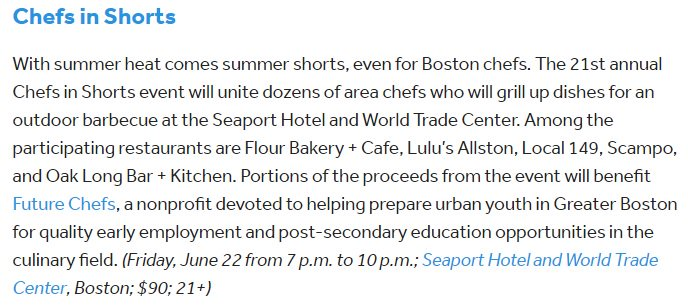 Excited to participate in tonight&#39;s sold out 21st Annual Chefs in Shorts, w/ ticket purchases benefiting @FutureChefs! Chef Graham Lockwood &amp; team will be there representing #OakLBK.  http:// bit.ly/2yAGqF8  &nbsp;   via @BostonDotCom<br>http://pic.twitter.com/e23S7Bqtl0