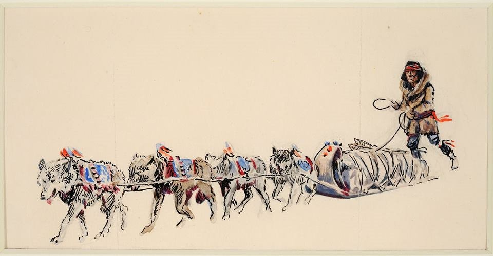 Its #TakeYourDogToWorkDay. This pen and ink with watercolor by #CMRussell shows a Cree #Indian with his dog team. Looks like the dogs were taking him to work. bit.ly/2K9PEtm [MHS Museum X1969.02.01]