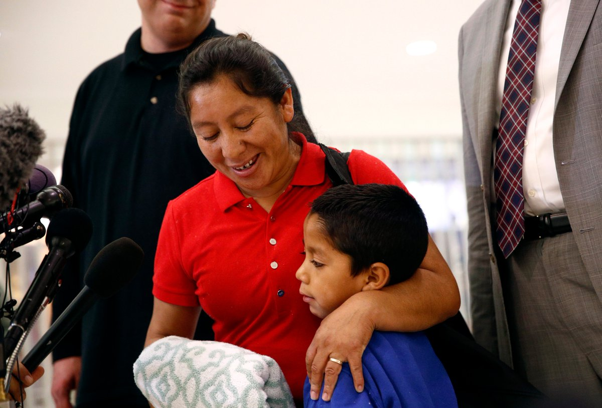 A Guatemalan mother who sued the government to release her 7-year-old son was reunited with him, one month after they were forcibly separated at the border.