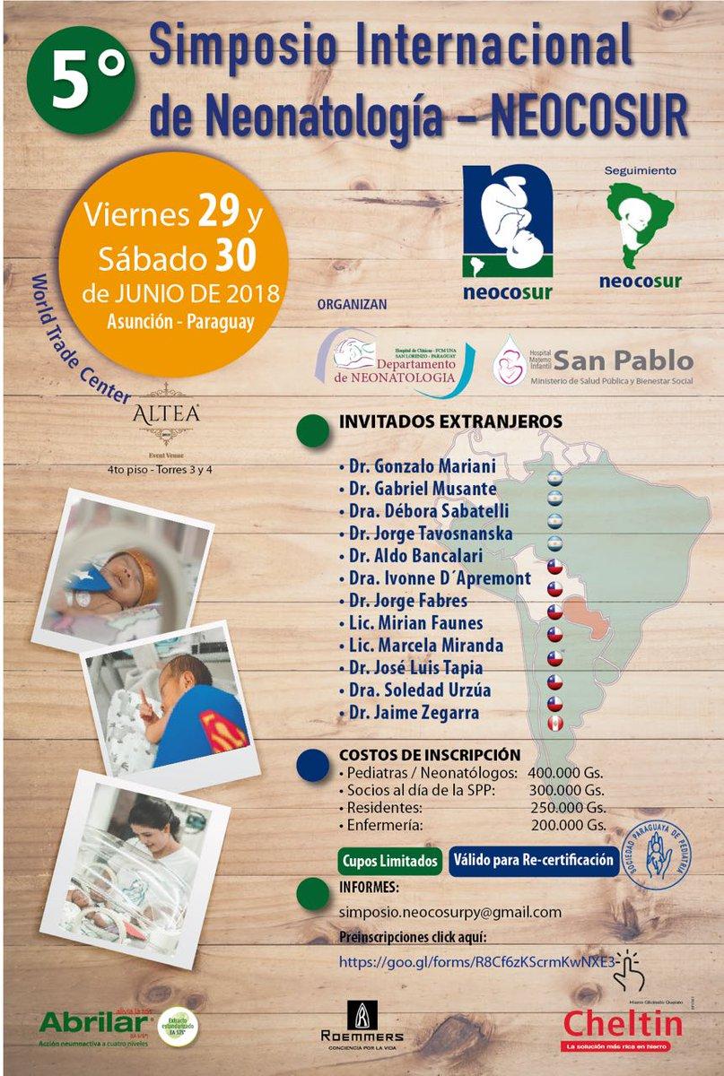 Ya llega! Pediatras, Neonatologos y Licenciados en Enfermeria!! No olviden inscribirse al #NeocosurParaguay 29 y 30 de Junio...