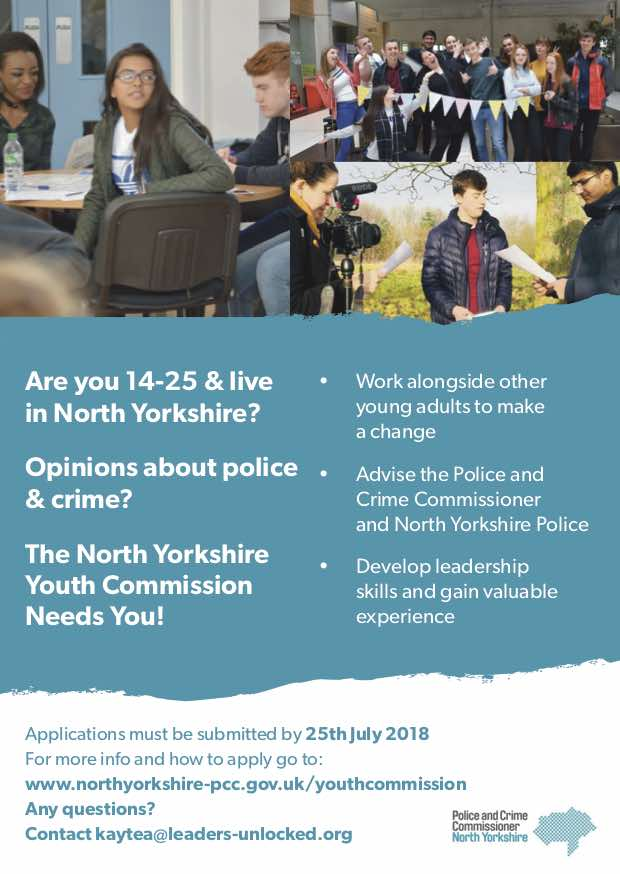 Are you 14-25 and live in North Yorkshire - have options about police & Crime. Why not join North Yorkshire Youth Commission: @scarborough_TEC @NidderdaleS @grahamschool @Barlby_High @StAidansCEHS @sjfchs @sherburnhigh @selbyhigh @TWSchool @outwoodripon  https://t.co/6VoknY1BdQ