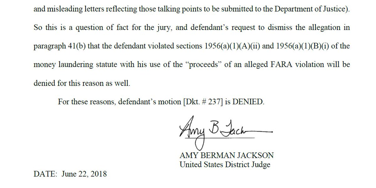JUST IN: Another day, another pre-trial loss for Paul Manafort. His lawyers argued that Mueller could not charge him with money laundering conspiracy. The federal judge ruled against that and upheld the charge. Ultimately, a jury will decide his guilt. (via @kpolantz)