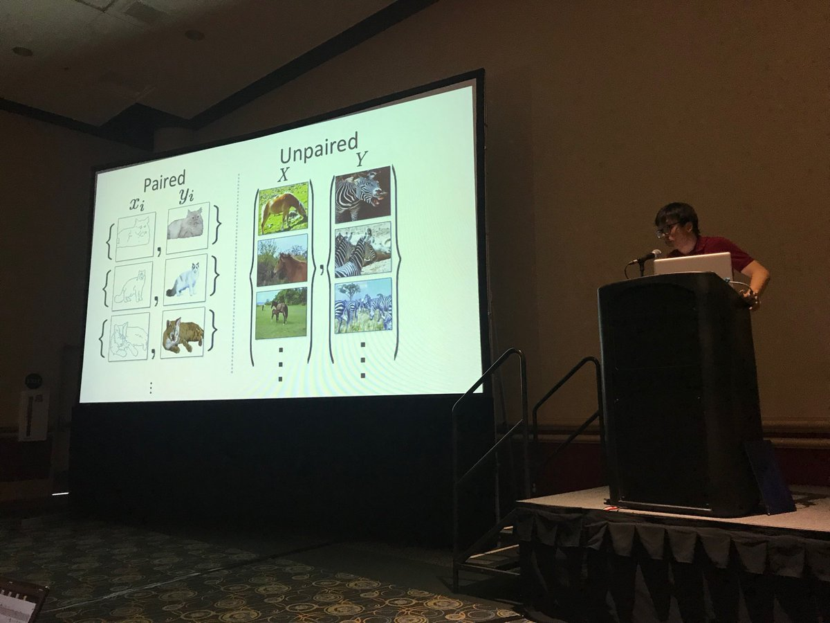 Jun-Yan Zhu teaches how to do unsupervised image to image translation at the #CVPR2018 tutorial on GANs