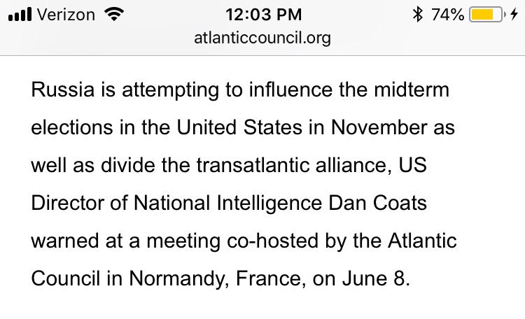 For everyone mocking the  interference read Trump's DNI Dan Coats speaking at the Atlantic Conference:  http://www. atlanticcouncil.org/blogs/new-atla nticist/director-of-national-intelligence-dan-coats-russia-is-attempting-to-influence-us-midterms-divide-transatlantic-alliance &nbsp; … <br>http://pic.twitter.com/2WuGJVNAOd