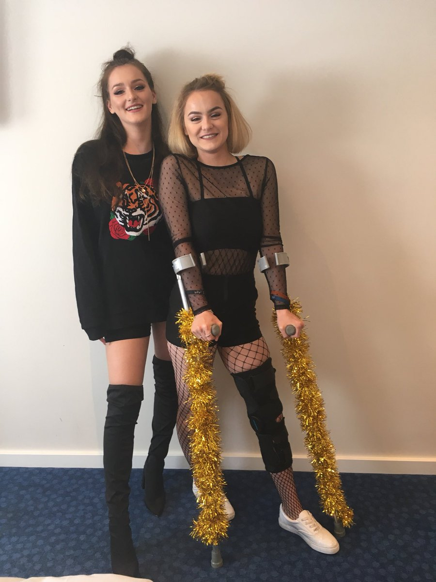 Me and @bluebirdswift7 are so ready for #RepTourLondon 😆 couldn't quite mange the thigh high boots but at least I've got sparkly crutches!!✨🎉