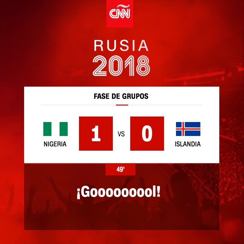 ¡Goooool! Al minuto 49 Ahmed Musa anota para Nigeria #Rusia2018 https://t.co/qhwjEcX9Lc https://t.co/VR2Pqo9j8g