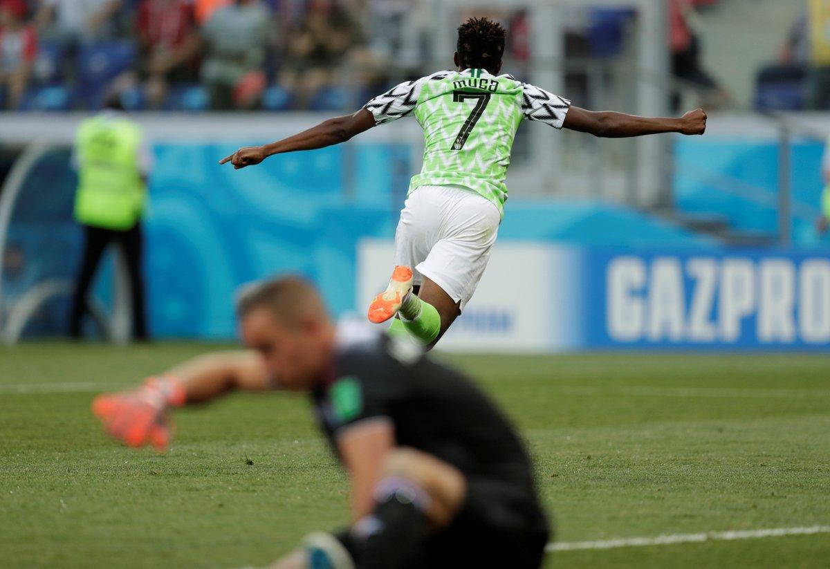 أحمد موسى يسجل الهدف الأول لنيجيريا في مرمى ايسلندا
