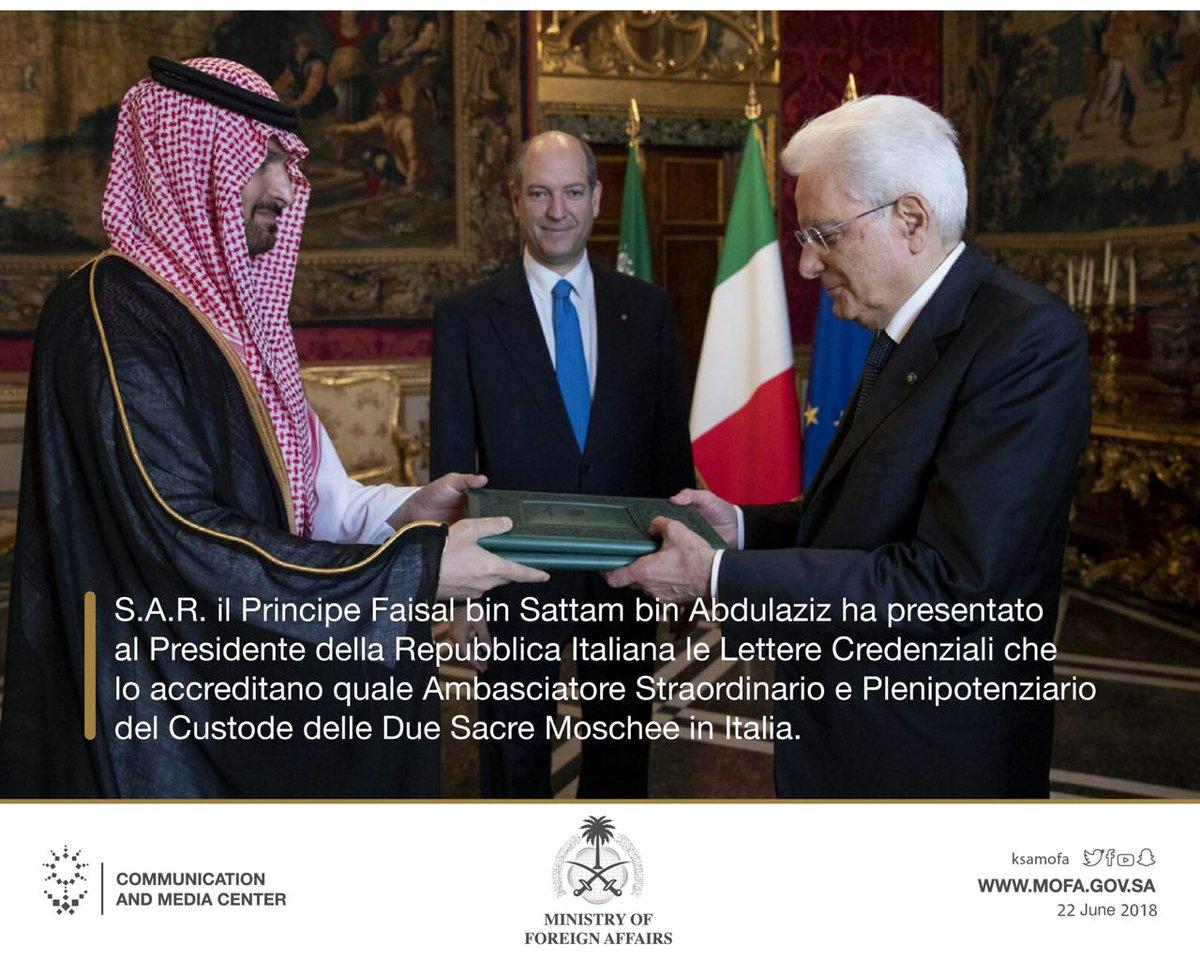 S.A.R. il Principe Faisal bin Sattam bin Abdulaziz ha presentato le Lettere Credenziali che lo accreditano quale Ambasciatore Straordinario e Plenipotenziariodel Custode delle Due Sacre Moschee in #Italia.  - Ukustom