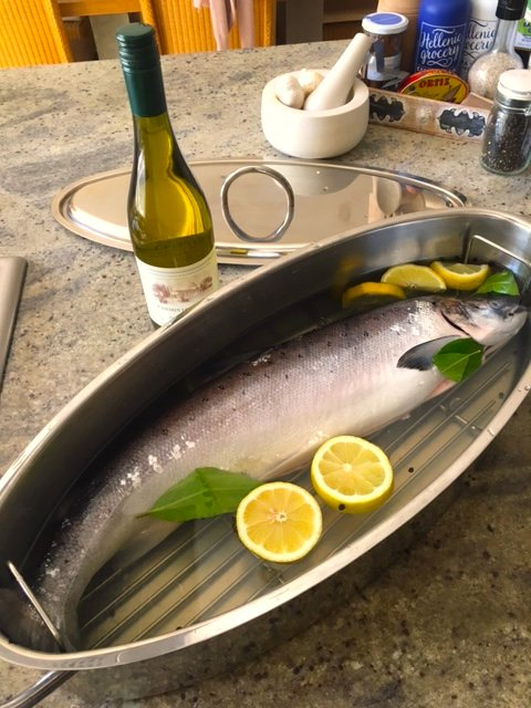 For birthday dinner tonight, this magnificent brute, fish kettle poached. In the garden. New potatoes, asparagus, ice cold Viognier, world cup. Hello 61!