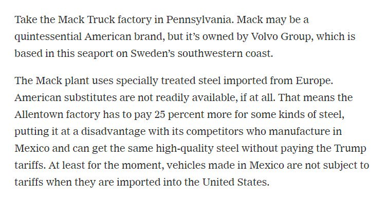 There are lots of stories like this. How Trump's tariffs on European steel will hurt the Mack Truck factory in Pennsylvania completely aside from the retaliatory tariffs: https://t.co/ubPmdlConN