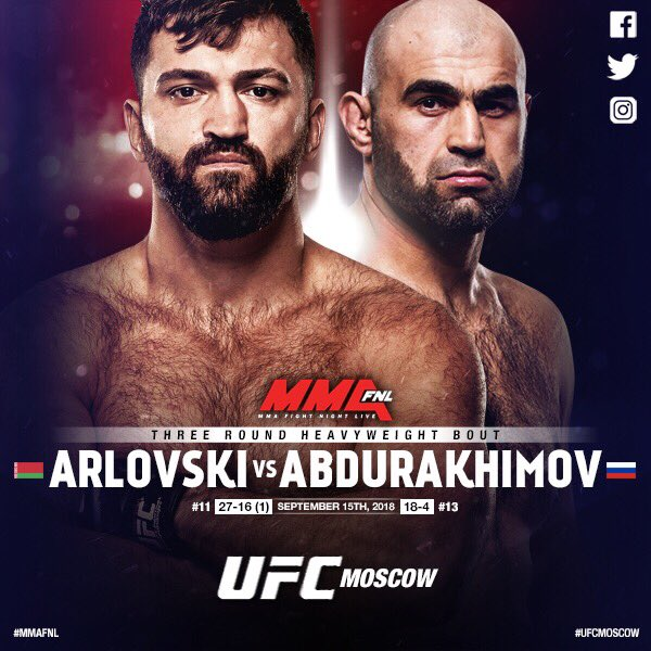Great wee fight added to #UFCMOSCOW  @AndreiArlovski vs @ShamilAbrek  #UFC #MMA