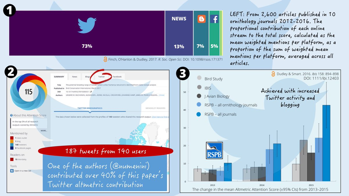 3/4 #BTcon18 Twitter contributes 73% of #altmetrics in #ornithology and #socialmedia 85% overall (1). Researchers can contribute to their articles&#39; #altmetrics using #socialmedia (2). Research institutes can use @altmetric data to track the reach of their published research (3) <br>http://pic.twitter.com/EtI1wQYgqL