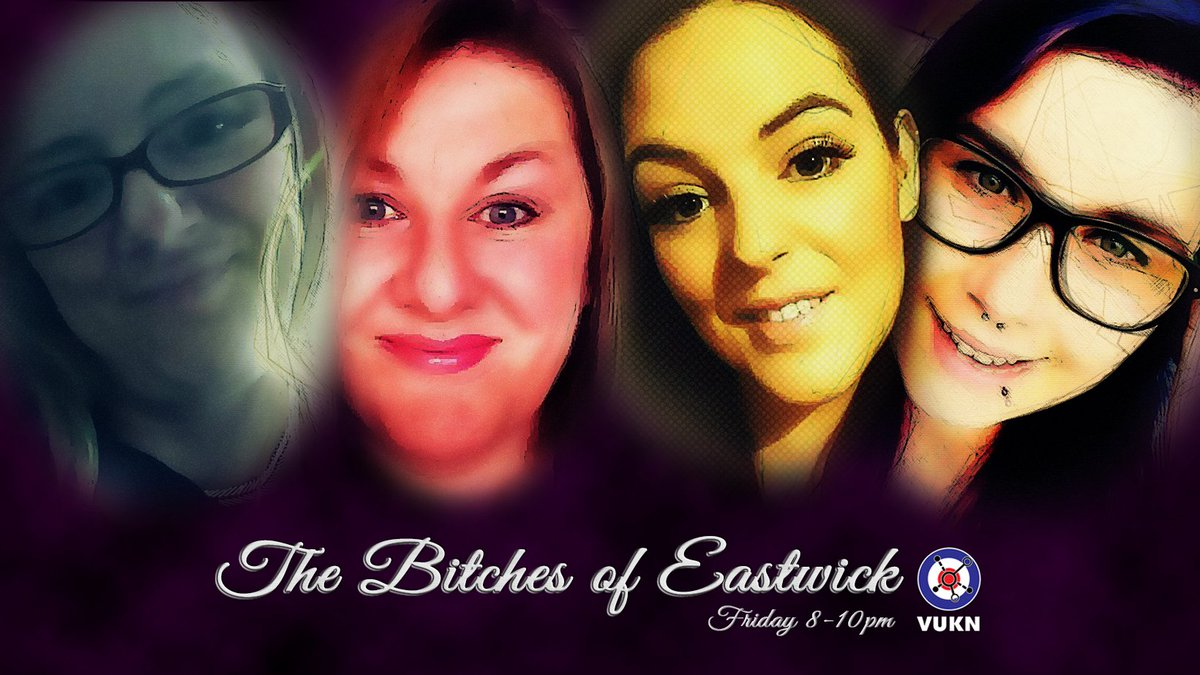 Live at 8pm BST, those sassy ladies, Vaperbunny, Gailybops, @purpleladyvape1 Purple lady vaper and Maggie, who are the Bitches of Eastwick. Watch them live: https://t.co/F59C7rCtrG