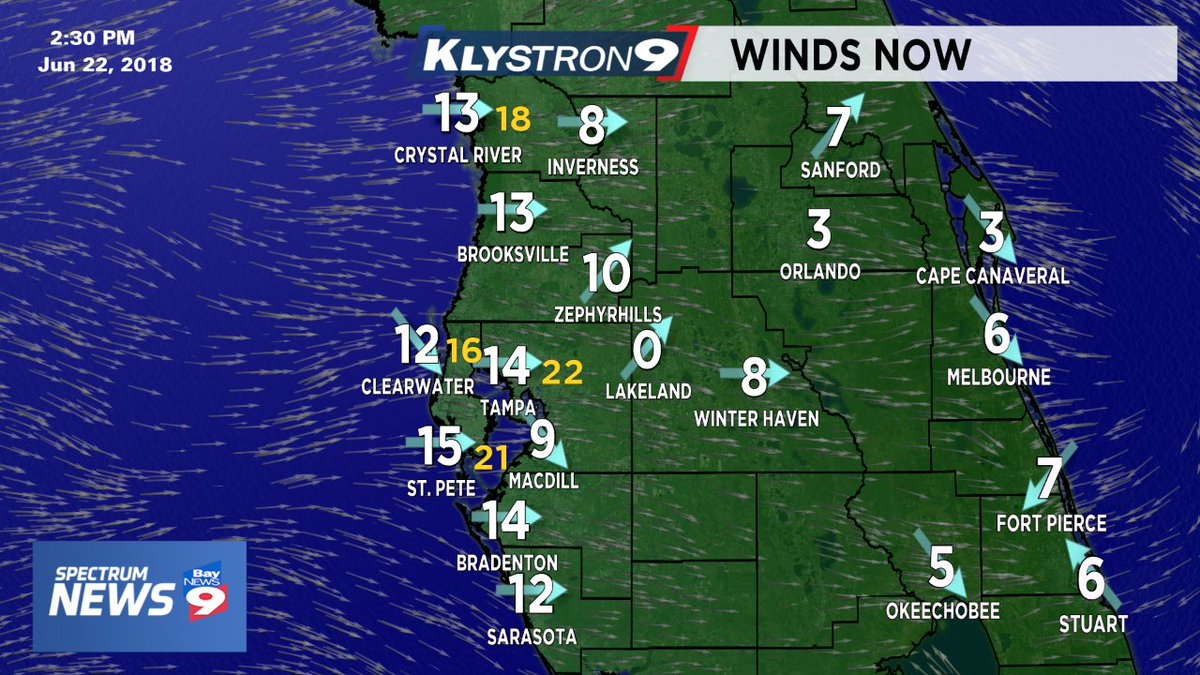 .@mcclureWX: Nice breeze off the Gulf today is keeping the showers moving eastward at a fast pace. #FLwx