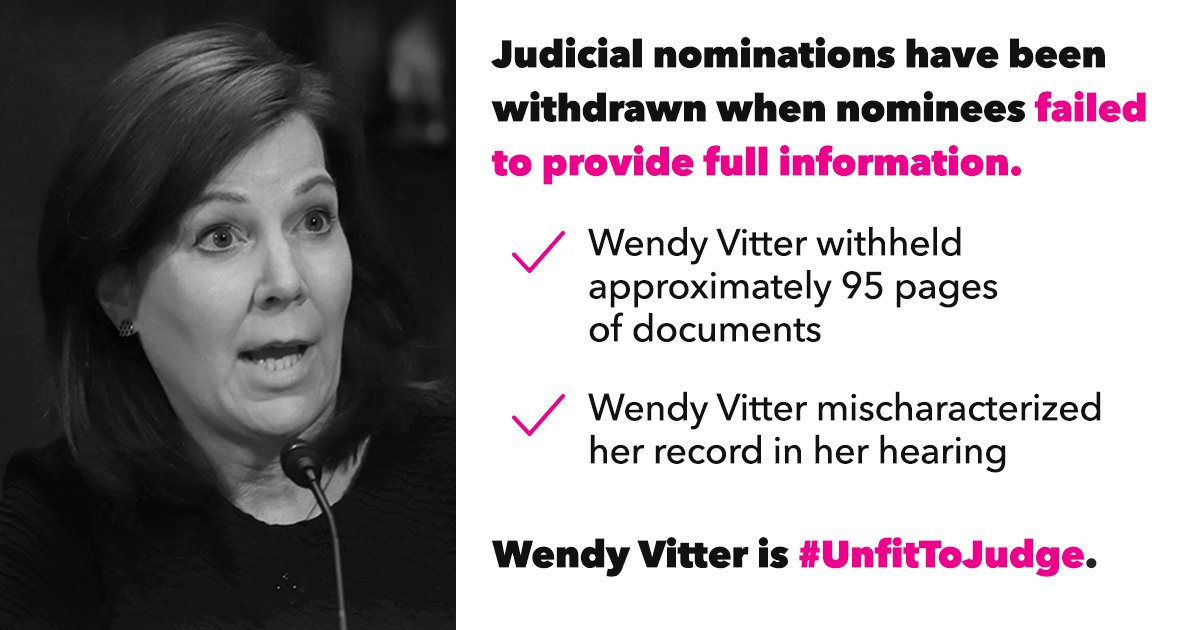 You still have time to stop Wendy Vitter from becoming a judge for LIFE. Call your senators NOW: 1-866-738-4293 #UnfitToJudge #CourtsMatter