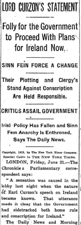 Jun 21, 1918 - New York Times: British Cabinet sets aside plans for both military conscription and Home Rule in Ireland #100yearsago