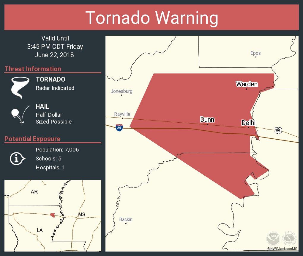 Tornado Warning including Delhi LA, Warden LA, Dunn LA until 3:45 PM CDT