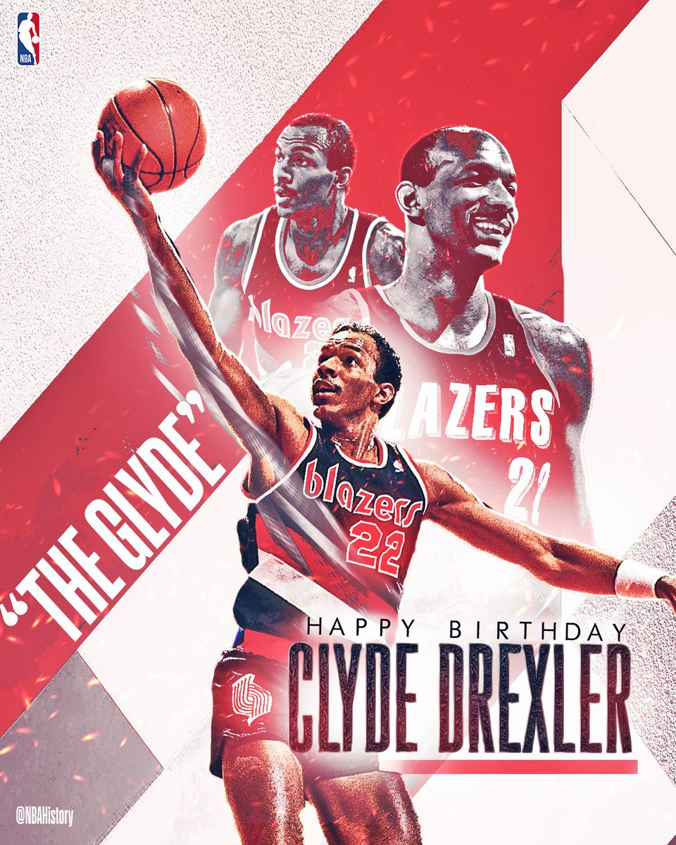 Happy 56th Birthday to 10x All-Star and Hall of Famer, Clyde Drexler! #NBABDAY