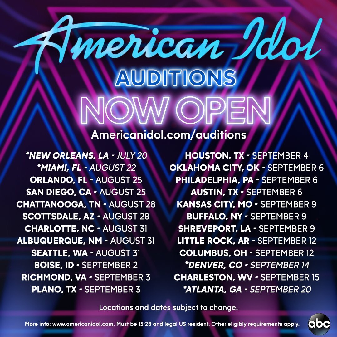 New cities added! We're coming for you New Orleans, Miami, Denver, and ATL! Sign up: https://t.co/yUs5tadIh7 #TheNextIdol