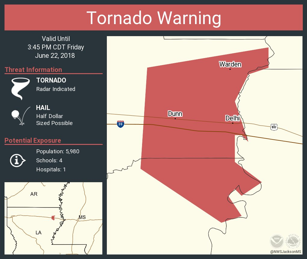 Tornado Warning continues for Delhi LA, Warden LA, Dunn LA until 3:45 PM CDT