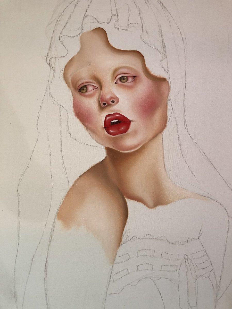 Working on a painting inspired by @lazxretto 's met gala makeup  <br>http://pic.twitter.com/DXBJbFNQtJ