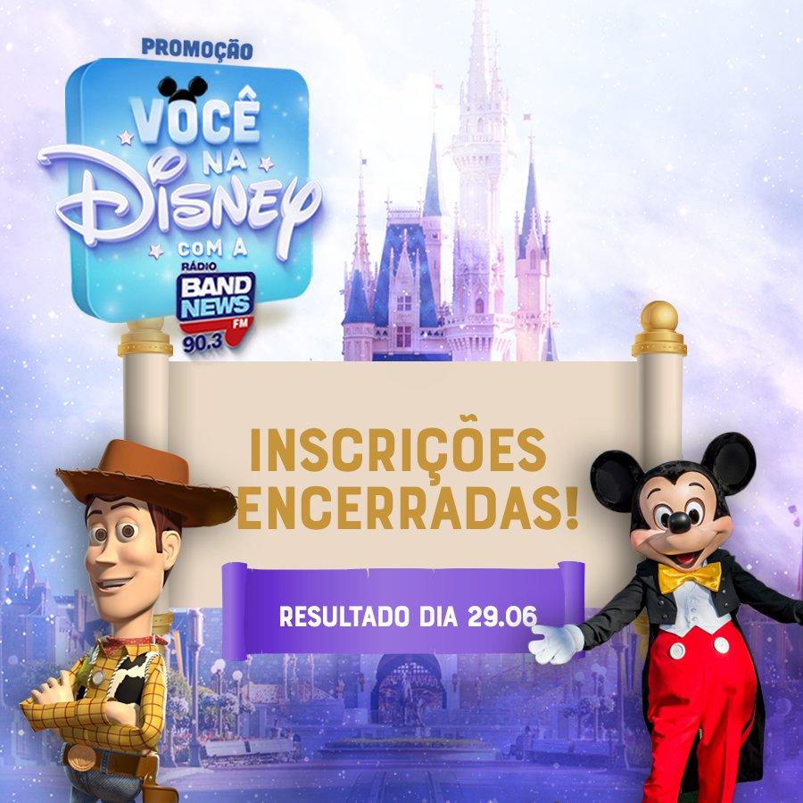 Promoção Você na Disney com a BandNews FM  Inscrições encerradas!!  Falta pouco para conhecermos o ouvinte que vai viajar para o Walt Disney World Resort na Flórida!  Resultado dia 29.06 nas redes sociais da BandNews FM Rio. 😉   #vocenadisneycomabandnews #disney #bandnewsfm