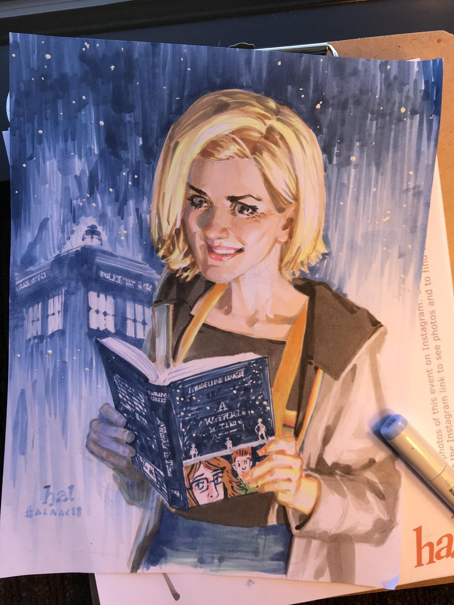 #FINISHED charity auction piece for the @americanlibraryassociation Annual Conference in New Orleans! The Jody Whittaker Doctor reading @hopelarsons GN of @madeleinelengles A Wrinkle in Time #alaac18 #sketch #doctorwho #jodiewhittaker #wrinkleintime #doctorwhoseries11
