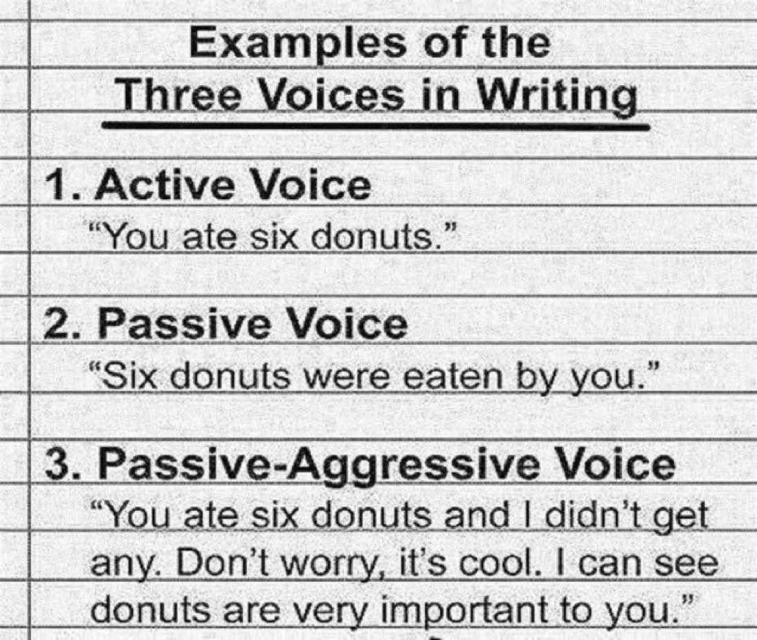 """vala afshar on twitter: """"examples of the three voices in writing: 1"""