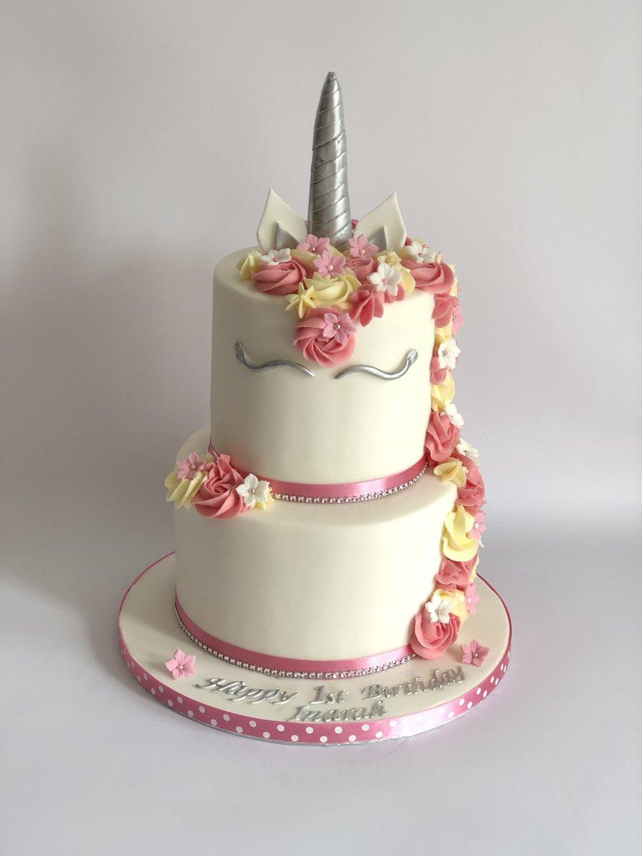 Tiered Unicorn Cake For A 1st Birthday Unicorns Birmingham Velvetrosebakerpictwitter UfEDOlqneu