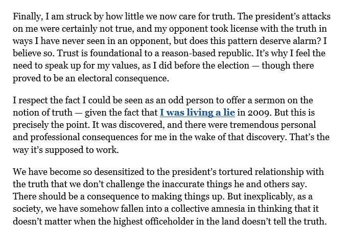 After his primary defeat over his insufficient Trump support, Republican Rep. Mark Sanford writes op-ed lamenting 'how little we now care for truth' and the absence of consequences for the president 'making things up': https://t.co/Lbrr19gyZF