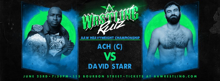Tomorrow night at @BourbonSt115 AAW Heavyweight Championship Match @GoGoACH vs @TheProductDS Tickets available now at aawpro.ticketleap.com or at the door tomorrow night. #AAWRULZ