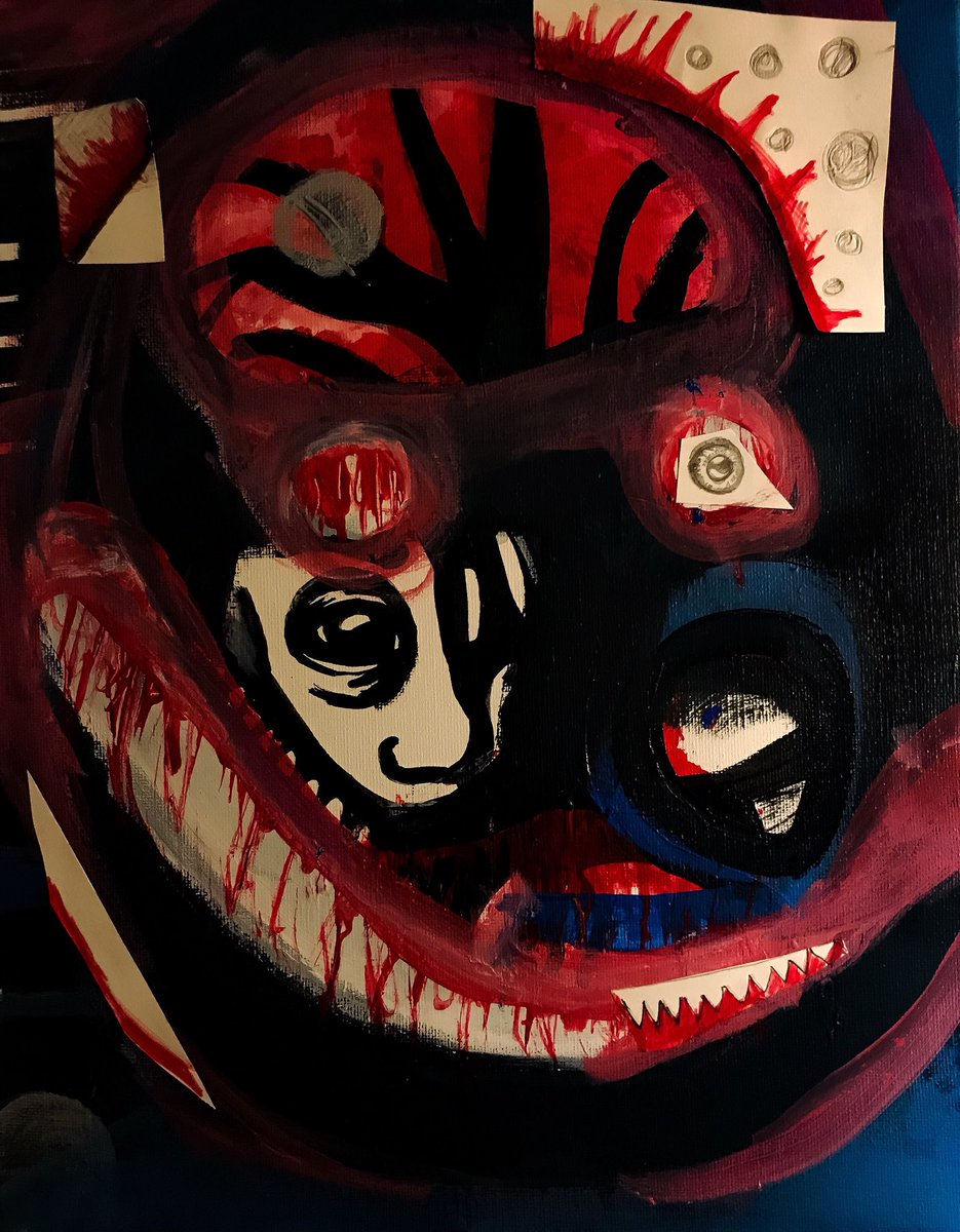 """""""Intro to insanity"""" Mixed media on canvas, by me <br>http://pic.twitter.com/agmImfnXAi"""