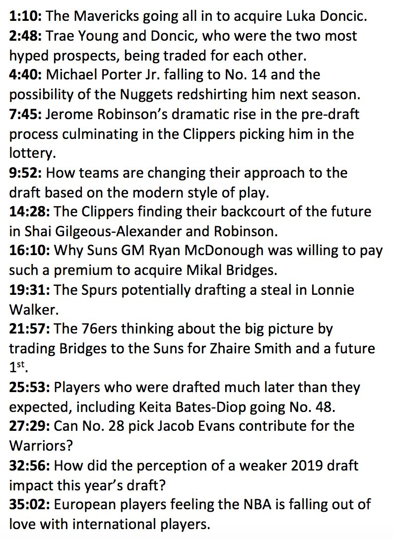 Draft recap with Jonathan Givony (@DraftExpress) including the Luka Doncic-Trae Young trade, Michael Porter Jr.'s fall, 76ers-Suns trade and much more. The Woj Pod: apple.co/2vm1oF0