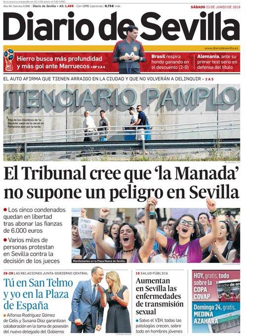 ¡Buenos días y #FelizSábado! Ya puedes consultar aquí la #portada de hoy de @diariosevilla Photo