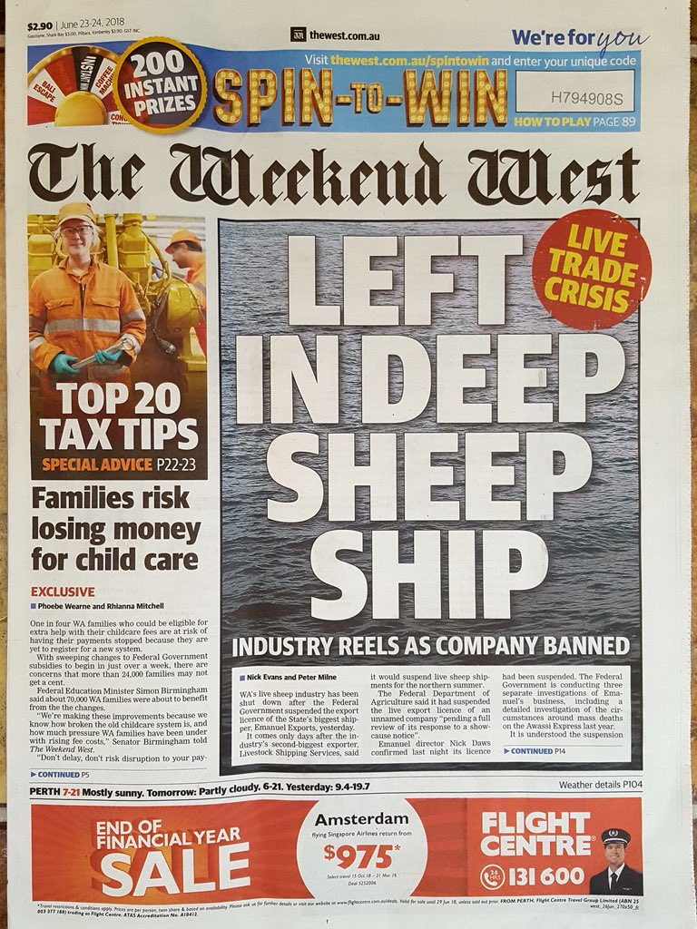 """Today's front page of The West Australian newspaper.  """"WA's live sheep industry has been shut down""""  Wonderful words to read, although would have liked a positive headline. Still a way to go, but a huge step towards the end of #liveexport.  #EndLiveExport<br>http://pic.twitter.com/WY7MrNJWHC"""