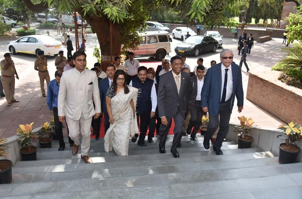 Seychelles president Danny Faure visits Gandhi Ashram, IIMA in Gujarat
